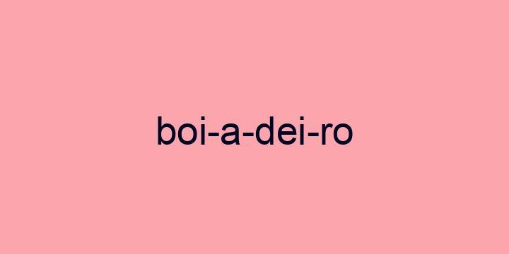 Separação silábica da palavra Boiadeiro: Boi-a-dei-ro