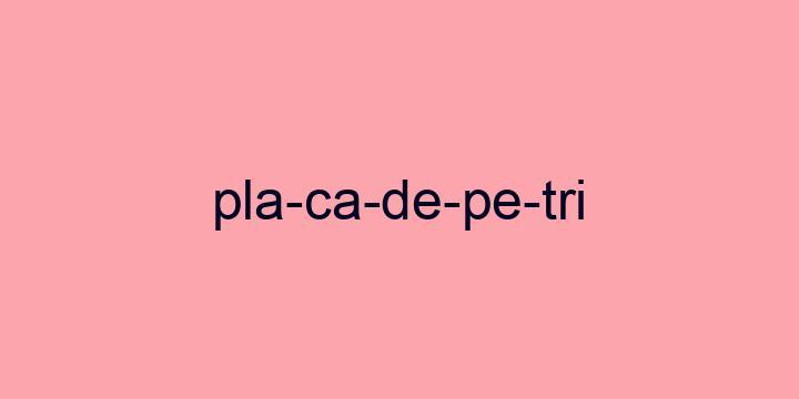 Separação silábica da palavra Placa de Petri: Pla-ca-de-Pe-tri