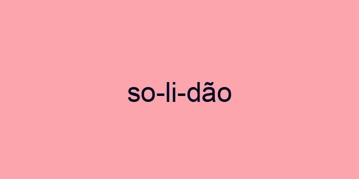 Separação silábica da palavra Solidão: So-li-dão